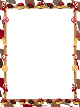 Delicious chocolate pastries, cakes, candy canes and other sweets adorn this free, printable border. It's perfect for candy stores. Free to download and print.