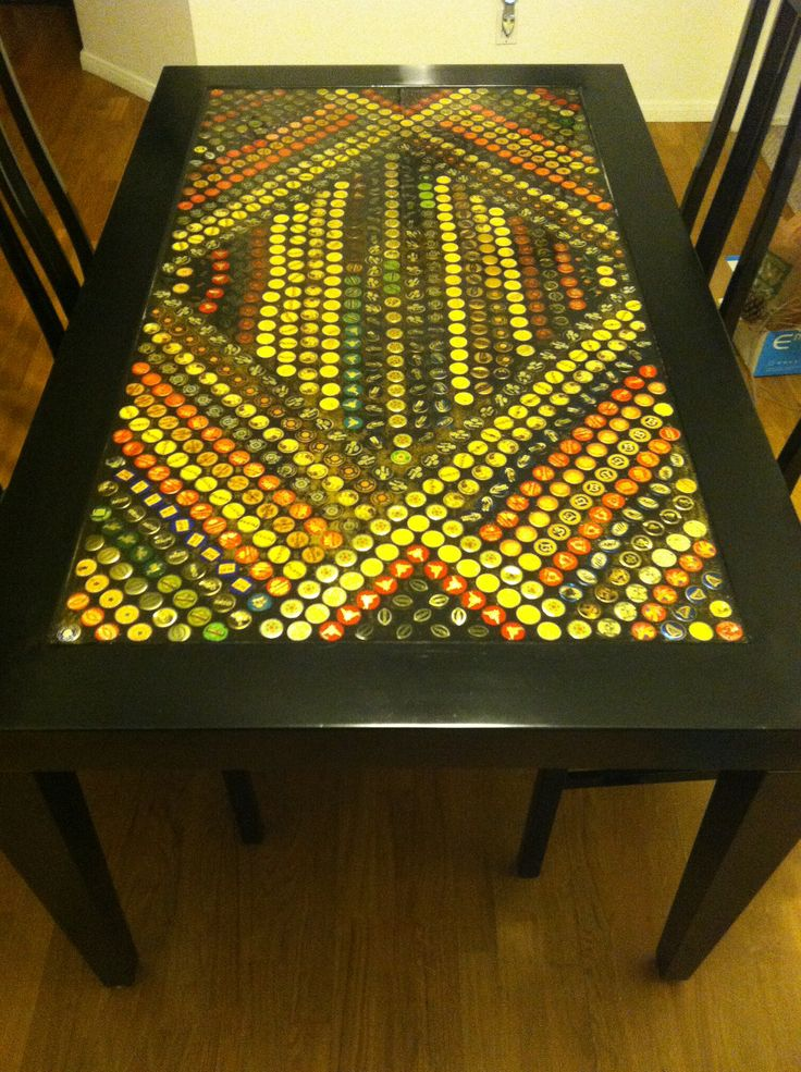 Officially Made A Beer Bottle Cap Table!!! Made By @Sami Cronin McLaughlin