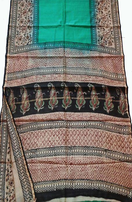 Multicolor Hand Block Printed Chanderi  Silk Saree