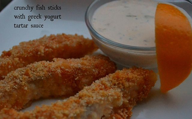 Check out crunchy fishsticks with greek yogurt tartar for Sauce for fish sticks