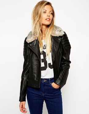 ASOS Leather Biker Jacket With Quilt Detail And Faux Fur Collar $208.45