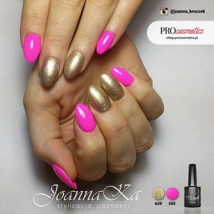 Neonowe paznokcie złote paznokcie różowe paznokcie pronail 620 505 żelowe hybrydowe hybryda żel