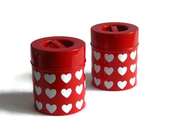 Set of 2 Retro Metal Canisters with Decor  by 20thCenturyEurope, €22.49