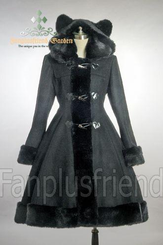 Bear Ears Hood Wool Coat