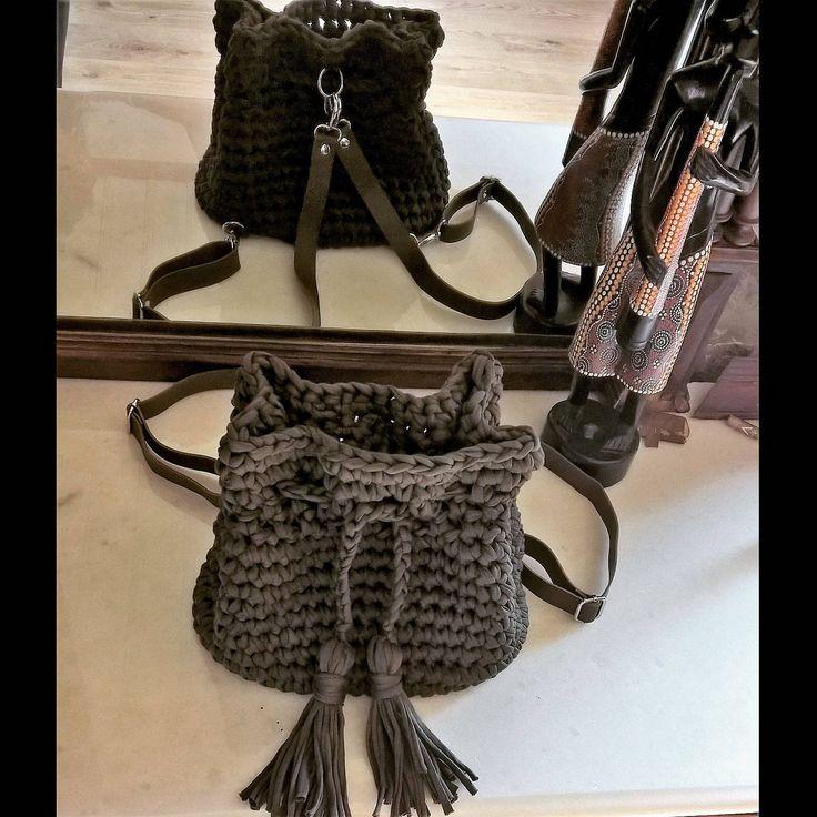 Crochet backpack, Rope bag, Boho purse, Bohemian crochet tote, Hippie, Casual, Stylish, Olive green, Tassels, Drawstring Opening, Women Gift by FeMiGR on Etsy