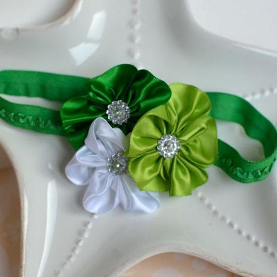 Green St Patricks Shamrock Flower Headband by MyLittlePixies, $8.00