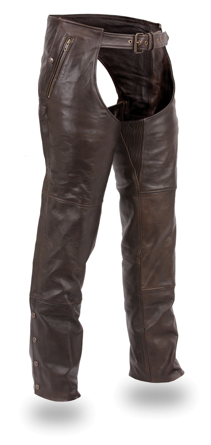 Unisex Brown Double Pocket Leather Motorcycle Chaps by First Mfg http://www.mymotorcycleclothing.com/