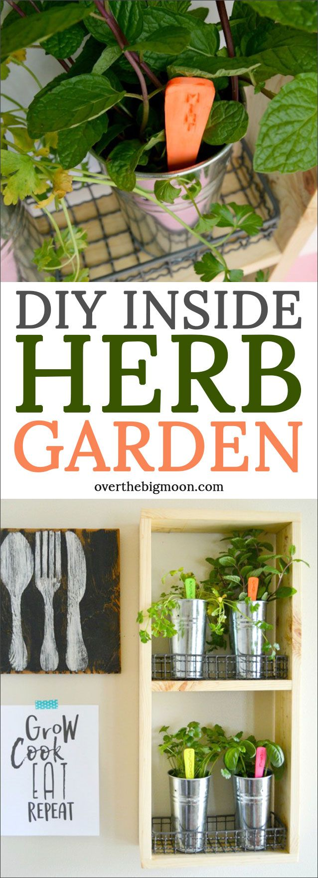 DIY Inside Herb Garden - come check out this easy tutorial! It adds such a great...
