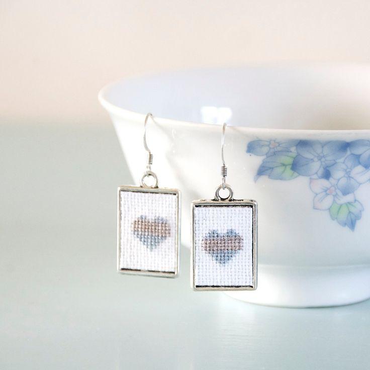 Silver Heart Earrings Blue Cross Stitch Valentine's Day Earrings by Emma Dickie Design by EmmaDickieDesign on Etsy