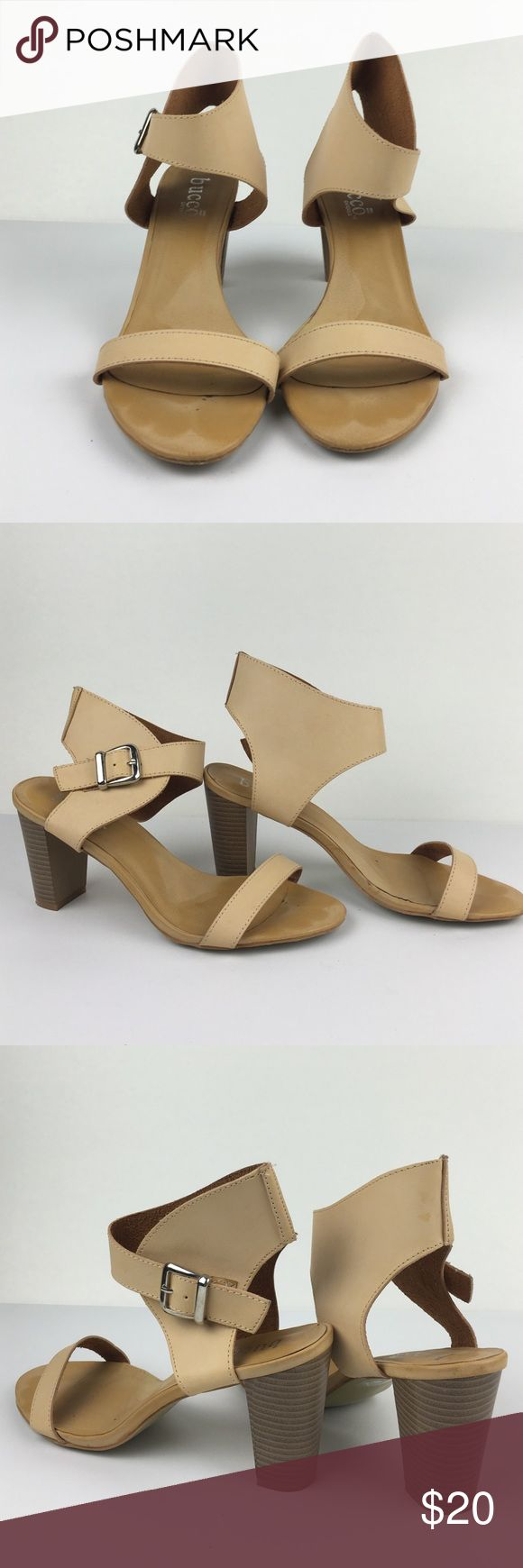 Cream Heel Sandals These are fun, stylish heels. They'd super comfortable and the ankle strap keeps your foot secure. They're slightly worn and the pictures represent the condition well. If you have any questions, just ask! Bucco Shoes Heels