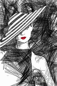 Woman With A Hat Print by Rafael Salazar
