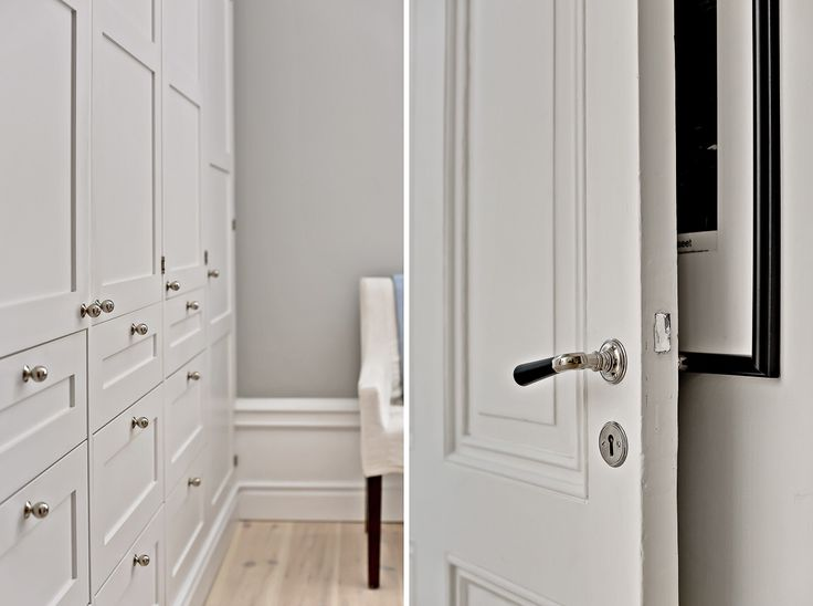 My lovely wardrobe  Garderoben gjord på Ikea köksstommar och luckorna från snickeri # järfällakök Fina knopparna & lister från #sekelskifte Väggen är målad i pavillion grey från Farrow & ball