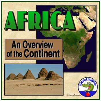 All About Africa PowerPoint. An overview of the continent, complete with animations, interesting facts, photographs from different countries and regions in Africa, and important information about climate, geography, people, social issues, and politics.