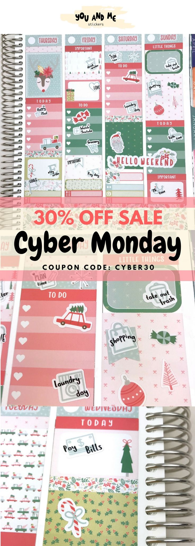 #youandmestickers Cyber Monday sale! Please use a coupon code CYBER30 to get 30% off for your purchase. Many NEW planner stickers are up in the shop. Please don't forget to check them out and grab your favorite You and Me Stickers. Hurry up! Don't miss this great sale :) Thank you!            #plannerstickers #plannercommunity #plannergirl #planneraddict #Planners #erincondren #happyplanner #bulletjournal #weeklykit #weeklystickers #recollections