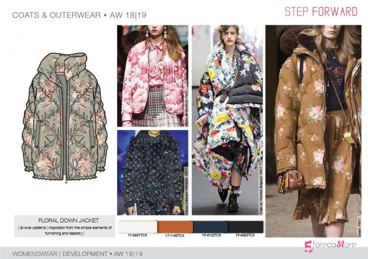 FW 208-19 Trend forecast: FLORAL DOWN JACKET, inspirations from the simple elements of furnishing and tapestry, development designs by 5forecaStore Fashion trend forecasting.