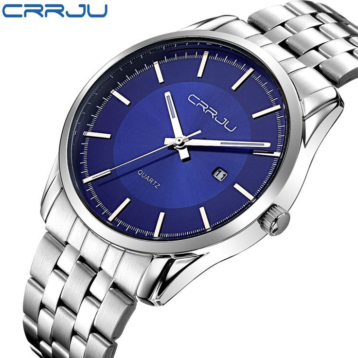 2016 New Brand Watch CRRJU Date Day Stainless Steel Relojes simple Watches Dress Men Casual Quartz Watch Sport Wristwatch Style-in Quartz Watches from Watches on Aliexpress.com   Alibaba Group