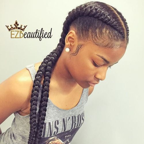 2 goddess braids are the easiest goddess braids which you can accomplish in just a few minutes. 2 goddess braids are easy to install on your head and will look super stylish on you more so when your face is long since it involves removing all the hair away from your face.