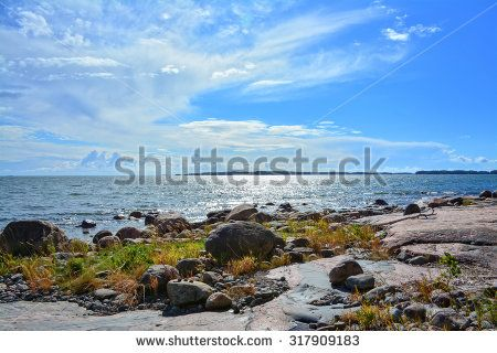 Rocky seashore on Baltic Sea - stock photo