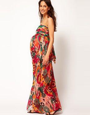 ASOS Maternity | ASOS Maternity Exclusive Bandeau Maxi Dress In Print at ASOS