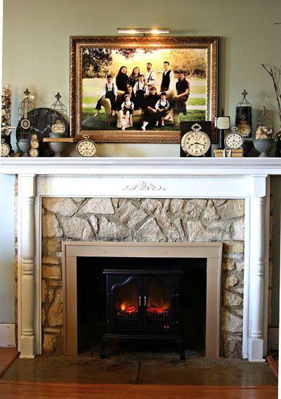 I love how she took a boring rock fireplace and added her - Rockabilly mantel ...