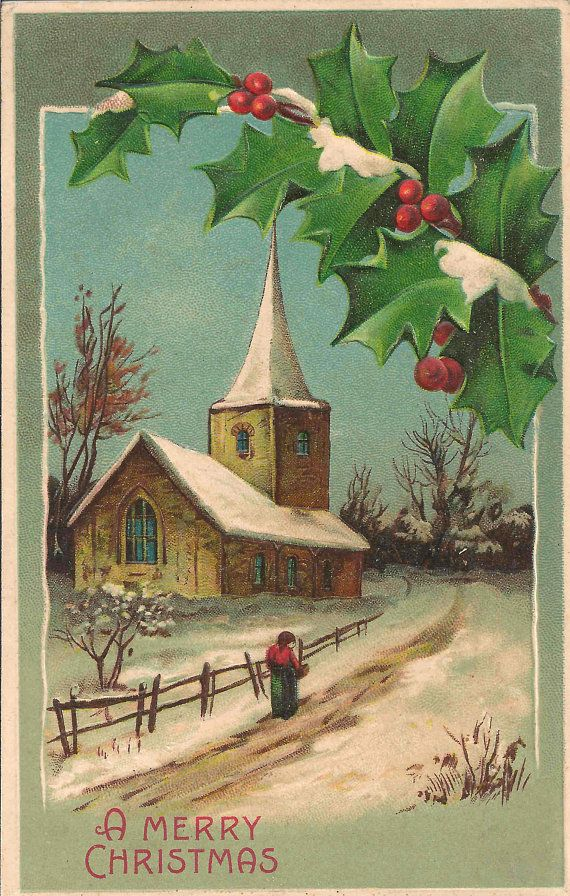 Early 1900's Antique Postcard May You Have A Merry Christmas Message With Serene Snowy Winter Village Church