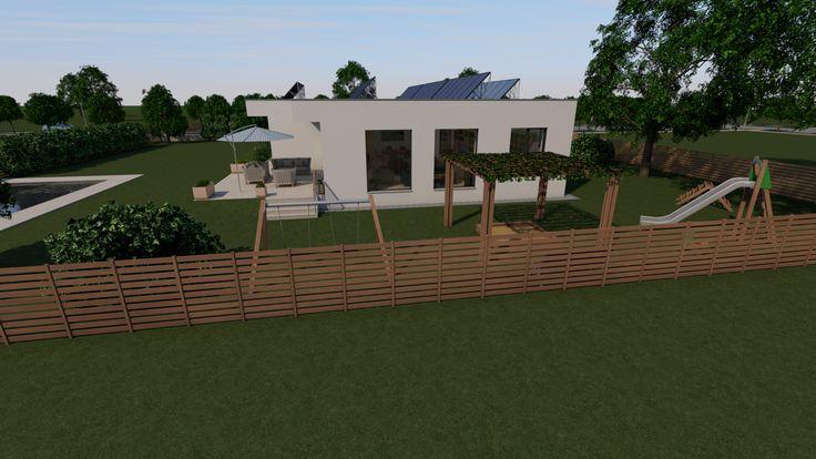Modern, 5 szobás, 229 m2-es földszintes családi ház mintaterve, alaprajzzal A nyugati homlokzat.