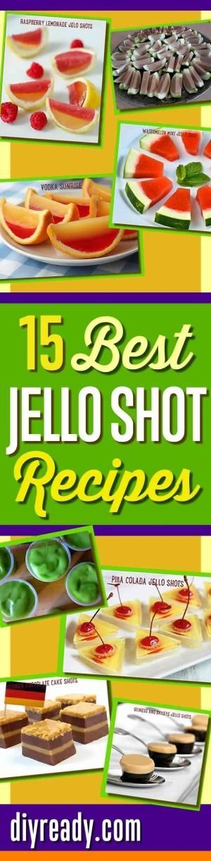 Best Jello Shot Recipes and Cool Drink Ideas for Cocktail Parties. How To Make Creative Jello Shots from Scratch! Watermelon, Pina Colada, Raspberry Lemonade, Vodka Sunrise, even German Chocolate Cake Jello Shots   Best Homemade Recipes at DIY Ready http: by Sherri32