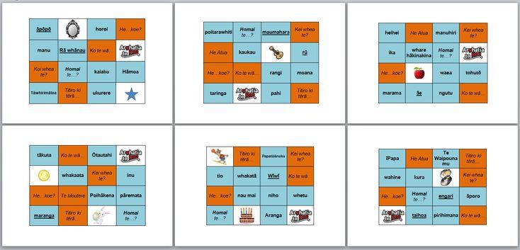 Maori Language Week 2014 ~ bingo
