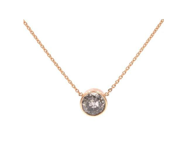 """A sparkling 1 carat Round Rose cut Grey Diamond in 14-karat Rose Gold Bezel Setting, Hanging on a thin Rose Gold Cable Chain. 6mm Diamond, 17"""" Chain Length. Gillian Conroy Jewelry. Diamond Necklace. Perfect Wedding. Gold Jewelry. Grey Diamond Necklace. Simple Necklace. Dainty Necklace. Single Diamond Necklace."""