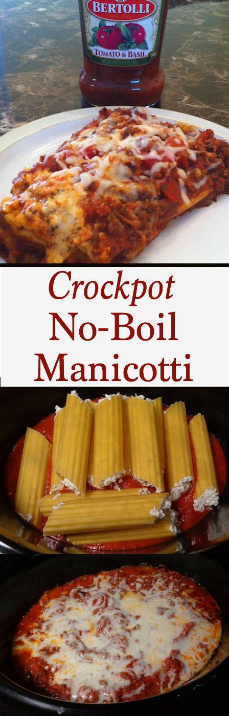 This Crockpot No-Boil Manicotti. Add it to your easy dinner recipes because you'll fall in love at first bite!