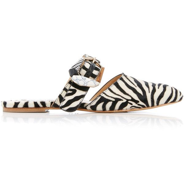 Gabriela Hearst Savage Zebra Mule (€805) ❤ liked on Polyvore featuring shoes, black, leather shoes, leather mules, zebra shoes, leather buckle shoes and gabriela hearst shoes
