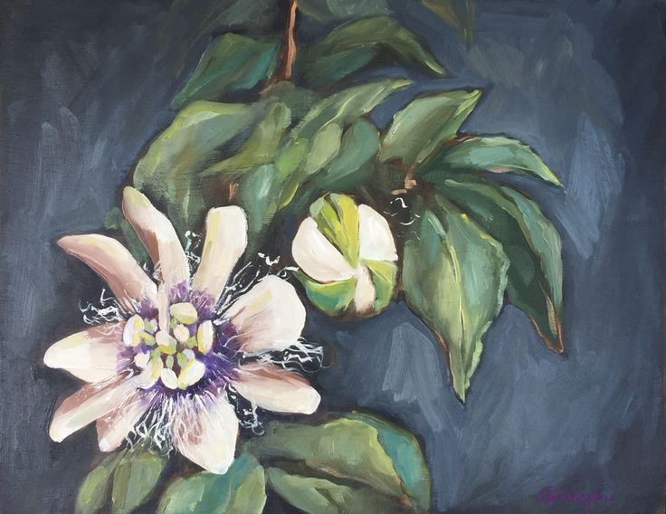 Lilikoi Flower. CGanginiArt  Maui oil painting