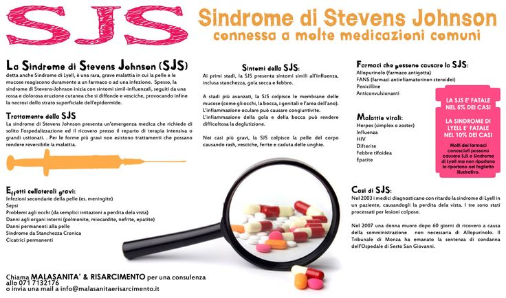 La sindrome di Lyell o epidermiolisi epidermica tossica (TEN) e la sindrome di Stevens Johnson (SJS) sono gravissime malattie cutanee che possono causare disagi enormi al paziente, arrivando ad essere mortale nelle manifestazioni più violente. Si può manifestare a causa di una malattia virale, ma soprattutto a causa della somministrazione di alcuni farmaci. Quali sono? …