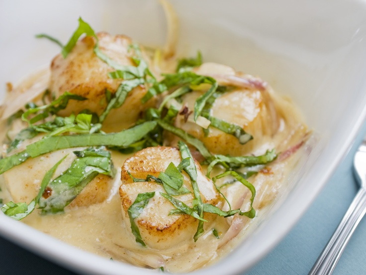 Scallops with Cream and Basil from CookingChannelTV.com