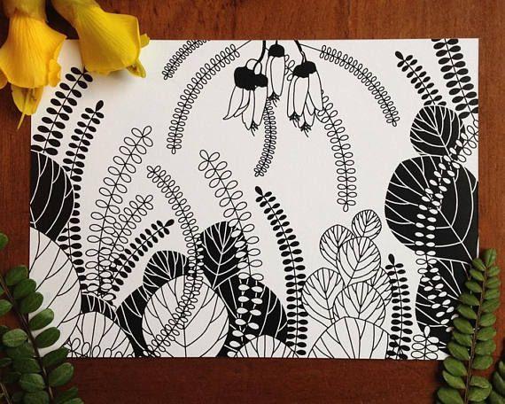 Printable Botanical Postcards Corokia Studio Design Kowhai