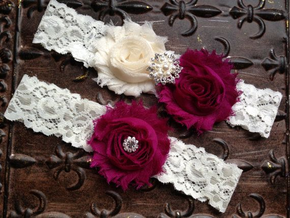 Cranberry Wedding Garter Ivory Cranberry by TheRaggedDiamond, $20.00