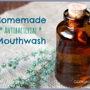 Homemade Mouthwash - A Natural Antibacterial Recipe. A container – I use a small mason jar ½ cup filtered or distilled water 2 tsp baking soda 2 drops tea tree essential oil 2 drops peppermint essential oil