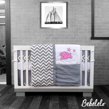 Baby Sleepy Dog zigzag Bedding pink Gray, White and blue Chevron 7 pc Crib Bedding set has all that your little bundle of joy will need. Let the little one in your home settle down to sleep in this incredible nursery set. This baby bedding girl set features a large chevron print. This collection uses the stylish colors of gray, white and pink.  #pink #zigzag #chevron #gray #modern #bebelelo