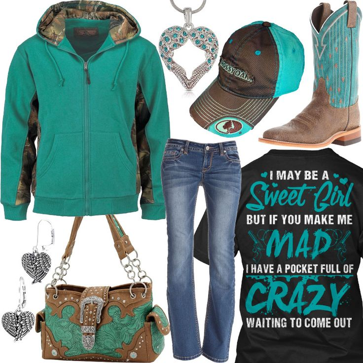 I May Be A Sweet Girl Teal Zip Up Hoodie Outfit - Real Country Ladies