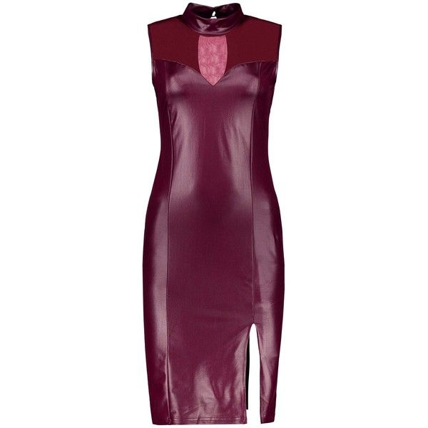 Cutout Slit Faux Leather Bodycon Dress (47 ILS) ❤ liked on Polyvore featuring dresses, vegan leather dress, faux leather dress, cut out bodycon dress, body con dresses and purple body con dress