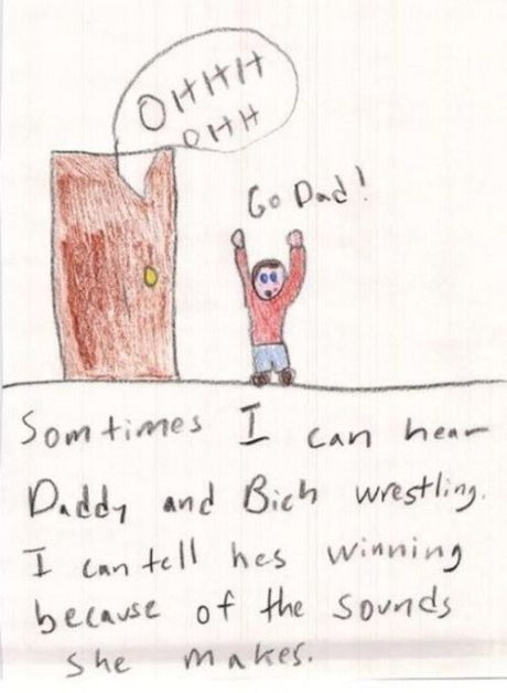 funny kid drawing dad wrestling winning sounds she makes