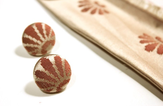 Button wedding earrings fabric covered stud earrings by DueAmiche