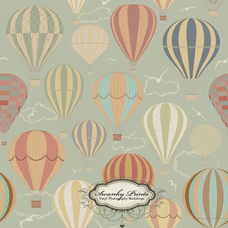 4ft x 4ft  Vinyl Photography Backdrop Hot Air Balloon Wallpaper. $39.99, via Etsy.