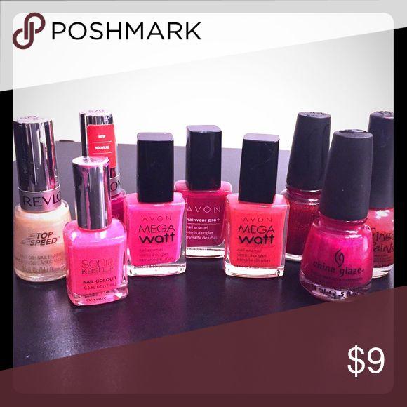 9 Mixed Nail Polish Lot Avon Revlon China Glaze 💅🏻slightly used✨ Avon Makeup