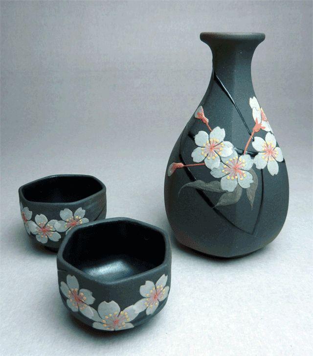 黒泥桜紋酒器揃い - 北川隆夫