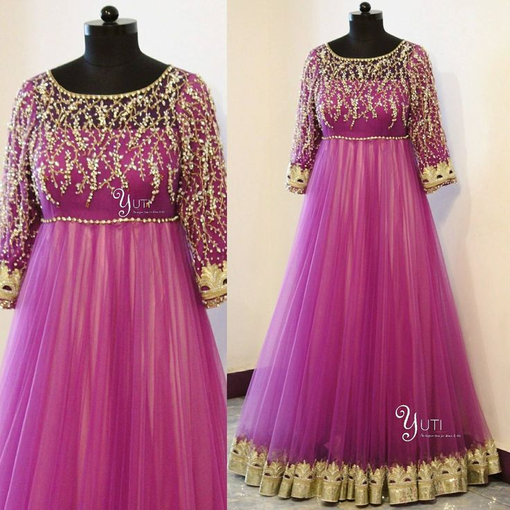 Lavender LOVE!Swarovski studded Dual tone Anarkali with cutwork borders and zari work!For Price and Other details reach  at 044-42179088 or Whatsapp: 9789903599Address: 21  Valmiki  street  Thiruvanmyur  Chennai.   15 May 2017