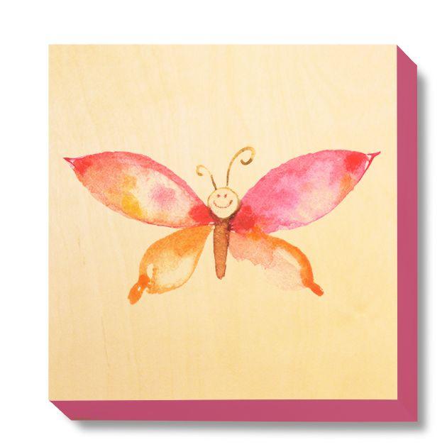 CHI 043 Children's Art - Watercolour Pink & Orange Butterfly