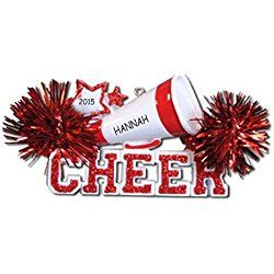 Personalized Cheerleader Christmas Ornament (Red)