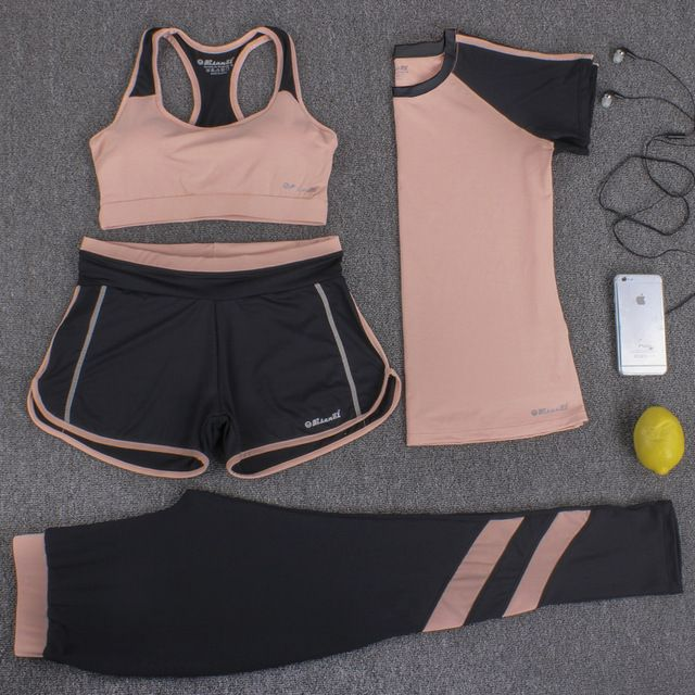 Women Yoga Set Four Pieces Bra T-shirt Shorts Pants Exercise Sportswear Solid With Letters XXXL Large Size Quick Dry Breathable – clothe and some other stuff