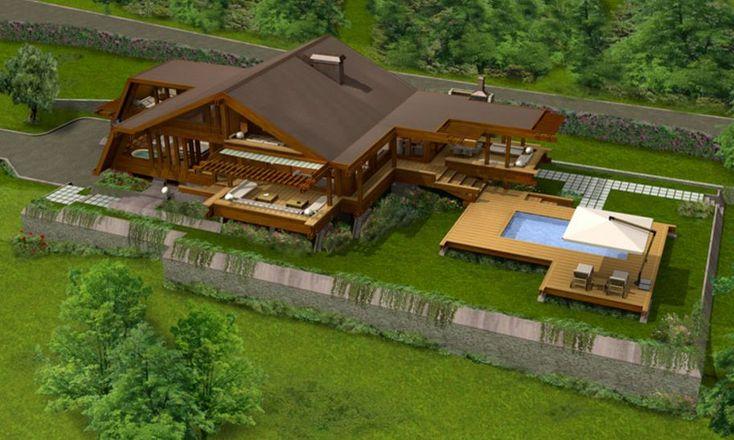 Chalets vistas de arriba planos de casas con piscina for Modelos de casas de campo con piscina